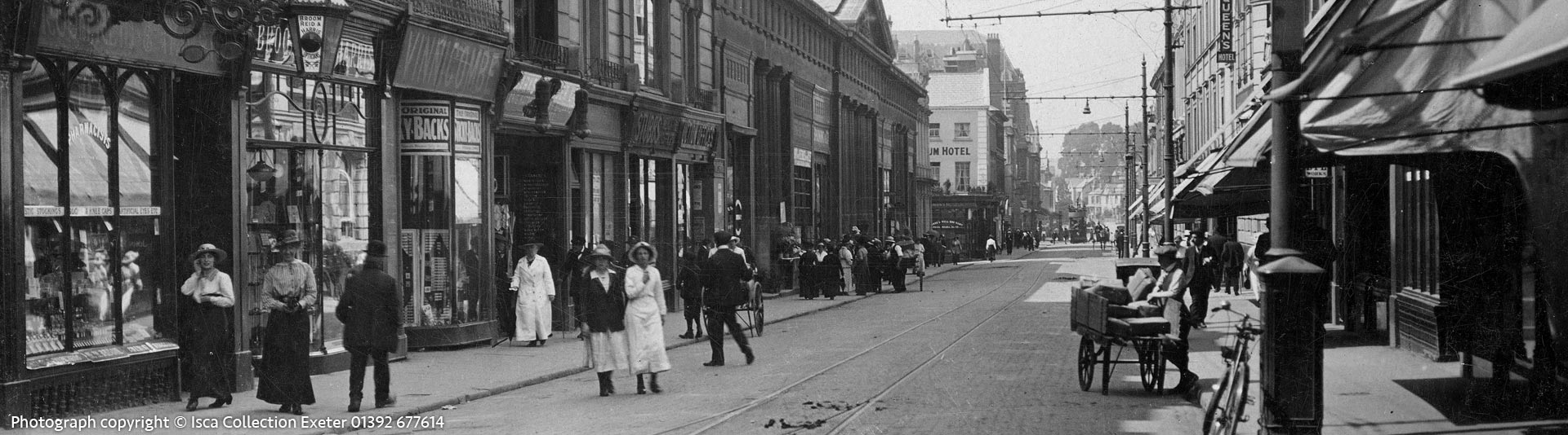 Queen Street, Exeter around 1910. Photograph copyright © Isca Collection. Telephone Exeter 01392 677614