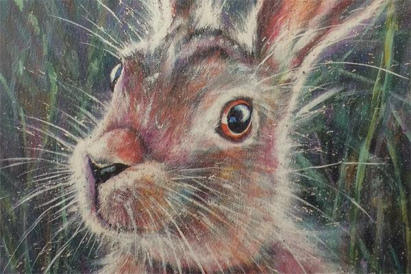 Illustration of a hare paying attention with its ears open